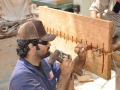 005 Ayaz al Zadjali and Fahad al Shaibi sew the first two planks of the sewn construction sample